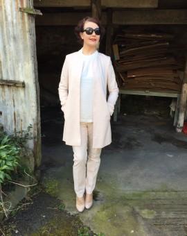 peach trouser suit