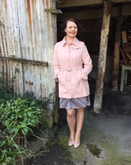 peach trench coat