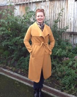 mustard wrap coat