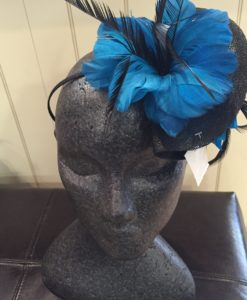 Black and Blue Feather Fascinator