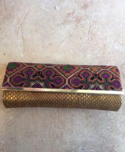 Aztec Multicoloured Clutch Gold